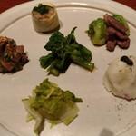 78274845 - 旬野菜と肉の盛り合わせ