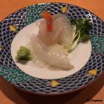 鮨富 - 眞子鰈の造りに青柳のトーテムポール