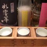和ガリコ 寅 - 日本酒 呑み比べ3種(1,280円) 2017.12