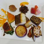 Restaurant 日水土 - サワラのポワレ、野菜料理8品の盛り合わせ