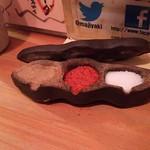 豆 - 1712_豆_豆セット@680円 卓上薬味(山椒、一味、塩)