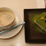 和カフェ 京あんじゅ - 抹茶と黒豆のティラミス コーヒーセット