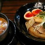 神虎 - 【(期間限定) 神虎の季節のつけ麺 3種キノコの濃厚デミポタージュ + 味つけ玉子】¥850 + ¥100