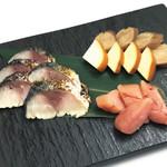 居酒屋 鴨と豚 とんぺら屋 - 燻製盛り合わせ(サバ・明太子・チーズ・いぶりがっこ)