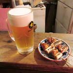 カドヤ - 生ビール、炭火焼き鳥ねぎま