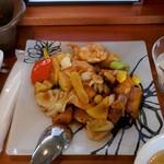 シーアン - 海老とイカの老酒ソース炒めアップ