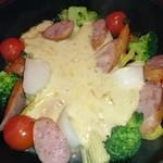 78359366 - 温野菜&ソーセージの燻製焼フォンデュ