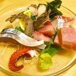 旬花 - 料理写真:「本日の造り盛合せ」(1800円〜時価)。