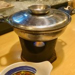 旬花 - 「たら白子小鍋」(1250円)。配膳時。