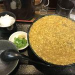 極楽うどん Ah-麺 - 鶏卵カレーうどん・並盛・ひやあつ・小ライス付(910円)