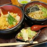 直利庵 - 天丼そばセット(¥1.200)