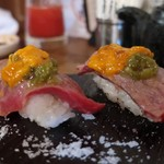 Sumibibaruajito - 佐賀牛ひうちの肉寿司うにのっけ