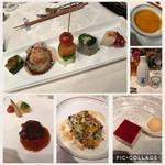 ザ 白梅クラシックガーデン 懐石 白梅 - 料理写真:忘年会のコース⭐️前菜の後にかぼちゃのスープとパンΣ(-᷅_-᷄๑)これでお酒は飲めないなw鱸のポワレも、お肉も美味しかったです