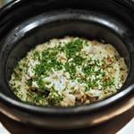 虎白 - 食事 穴子と牛蒡の炊き込みご飯