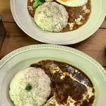 Cat Cafe てまりのおうち - ハッシュドビーフ&目玉焼きのっけキーマカレー