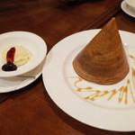 ガネーシュ - 季節のディナーコース(4629円・外税)のシナモンドーサとバニラアイス 季節のジャムを添えて