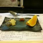 78425121 - ◆前菜(左から酢味噌和え、卵、紅まどんな)