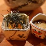 日本料理山崎 - アオリイカと海胆、茶ぶりなまこ