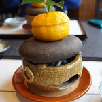 78443996 - 柚子釜、胡麻クリームと海胆(2017/12)