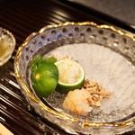 行楽庵 - 鱧のお造り、鱧のうるか、肝、腸(2017/8)