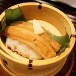 行楽庵 - 穴子の飯蒸し(2017/8)