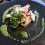 メゾン・バルサック - 川村農園のふじ林檎のタルト 大山鶏の自家製ハムと白レバーのパテを添えて