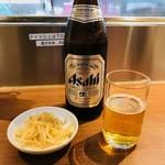 昌平ラーメン - 瓶ビール&お通し(500円)