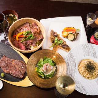 国産和牛鉄板焼、ローストビーフ、新鮮な野菜を使用。