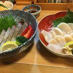 居酒屋 和久井 - 料理写真:2017年12月23日  カンパチ刺身、貝柱刺身