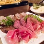 78520725 - 3種盛り(燻製ベーコン・ロースト牛タン炙り・生ハム)