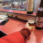 屋台 峰ちゃん - 屋台には通常生ビールはありませんので、瓶ビールです。