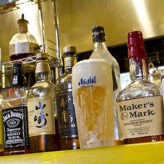 お酒はビール、焼酎、ウイスキー、カクテル等色々揃えています。