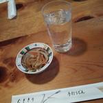 むぎきり - 雪月花750円+アテのきんぴら酢漬け