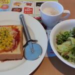 ガスト - 料理写真:選べるモーニングセットからHコーンたっぷりピザトーストセット399円と おすすめ!もう1品からセットミニサラダ99円