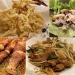いずみ亭 - さきいか天ぷら/つぶ刺身/豚串/ホルモンモヤシ炒め
