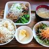 カフェ クウワ - 料理写真:天然ブリの竜田揚げオイスター風和風あんかけ定食(おかずと玄米ご飯の大盛りです)