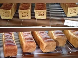 ルヴァン・ド・ママン - 上の角食は天然酵母ルヴァン食パン、下の山食はもちもち食パン