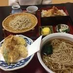 庵 - 牡蠣の天ぷら蕎麦1250円を大盛り100円にしました。蕎麦は北海道音威子府産の二八蕎麦…。