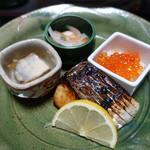 新日本料理 神也 - ふぐの煮こごり、さわら、白身南蛮、いくら