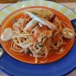 イタリアンハウス パスタ - ホタテとカニのトマトソースパスタ