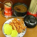 鉄飯 - 辛味噌は好みで入れられるのもうれしいです