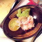 湯喜望 白扇 - 蟹酢;カニ身、ロマネスク、ミニトマト添え
