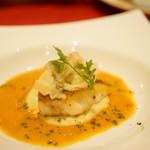レロエ オヴェスト - 長崎産鮮魚のソテー 渡り蟹のスープに浮かべて 舞茸のフリット乗せ