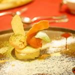 レロエ オヴェスト - さつま芋とチーズの二層のケーキ キャラメルと苺のジェラート添え