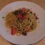cibo - 砂ずりとトマトの白ワインソースのパスタ