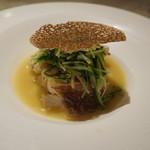 ル・ジャルダン・デ・サヴール - 松茸、真鯛の白ワイン蒸し、トリュフせんべい添え