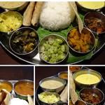 106 サウスインディアン - ◆上:日替わり野菜(かぼちゃ・茄子・豆など) どれも味わいがいいのですが「豆」が美味しい。 ◆カレーなど。ラサム(トマトスープカレー)・サンバール(豆カレー)・クットゥ(野菜+ココナッツカレー) 豆カレー以外はスープ風。