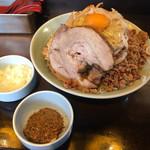 立川マシマシ - 汁なし、魚粉+刻み玉ねぎトッピング