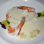 Azure Restaurant - アズーア・テイスティングメニュー(カフィア風味のヤシの芽のヴィシソワーズとカウアイ産海老)
