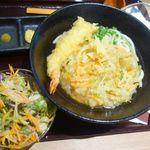東京 肉芝 - 天ぷらうどん+サラダなど